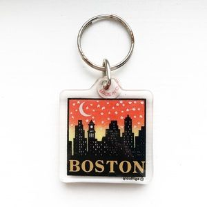 Boston night-time cityscape souvenir keychain